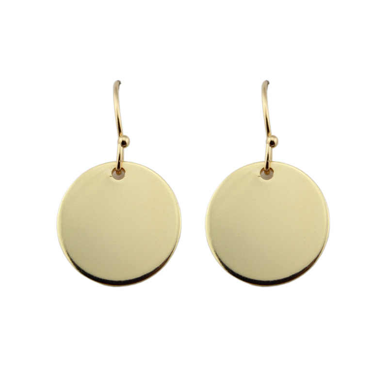 2018 New Fashion Minimalist Round Circle Disc Drop Earrings for Women