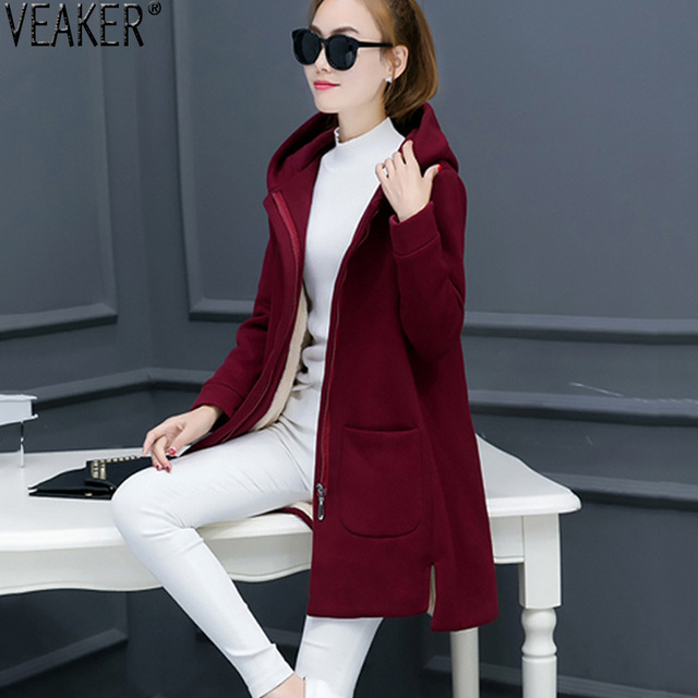 2018 Autumn Winter Women Thick Fleece Jacket Coat Female Slim Fit Long Hooded Coat Outerwear Red Pink Yellow  Fleece Jackets 3XL