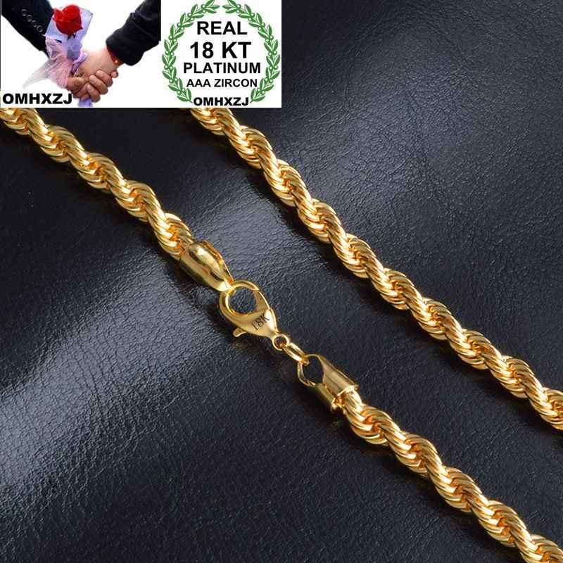 OMHXZJ Wholesale Personality Fashion OL Woman Girl Party Wedding Gift Gold 6MM Rope Chain 18KT Gold Chain Necklace NC157