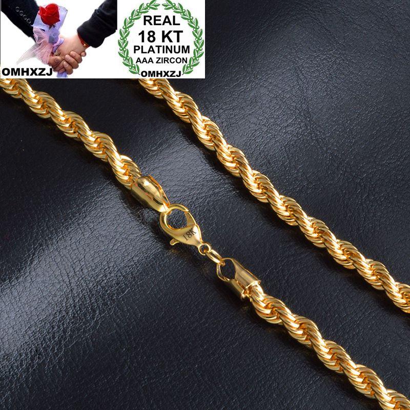 OMHXZJ, venta al por mayor, moda formal para mujer y niña, regalo de boda, cadena de oro de 6MM, cadena de oro de 18kt, collar NC157