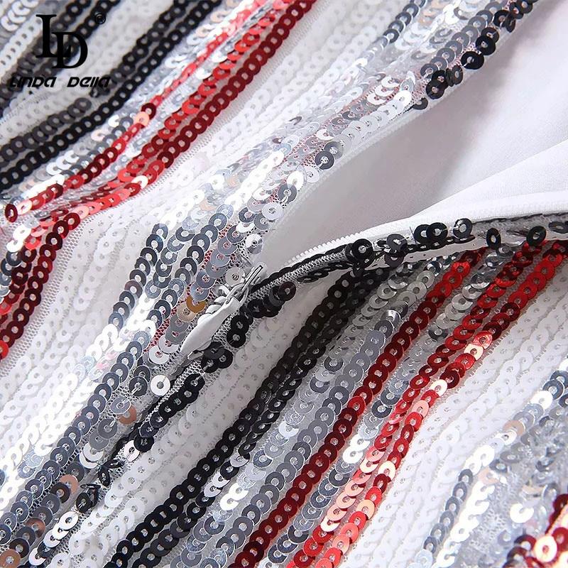 Multi Ld Fête Vintage Femmes Paillettes Manches Pour À Printemps De Linda Sexy Élégant Rayé Robe Piste Della Longues Mode Sequin qrqgxFwHU