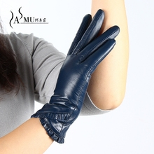 Autumn Gloves Women's Genuine Leather Gloves Fashion Black Sheepskin Touch Screen Gloves Warm Winter Mittens Free Shipping цена