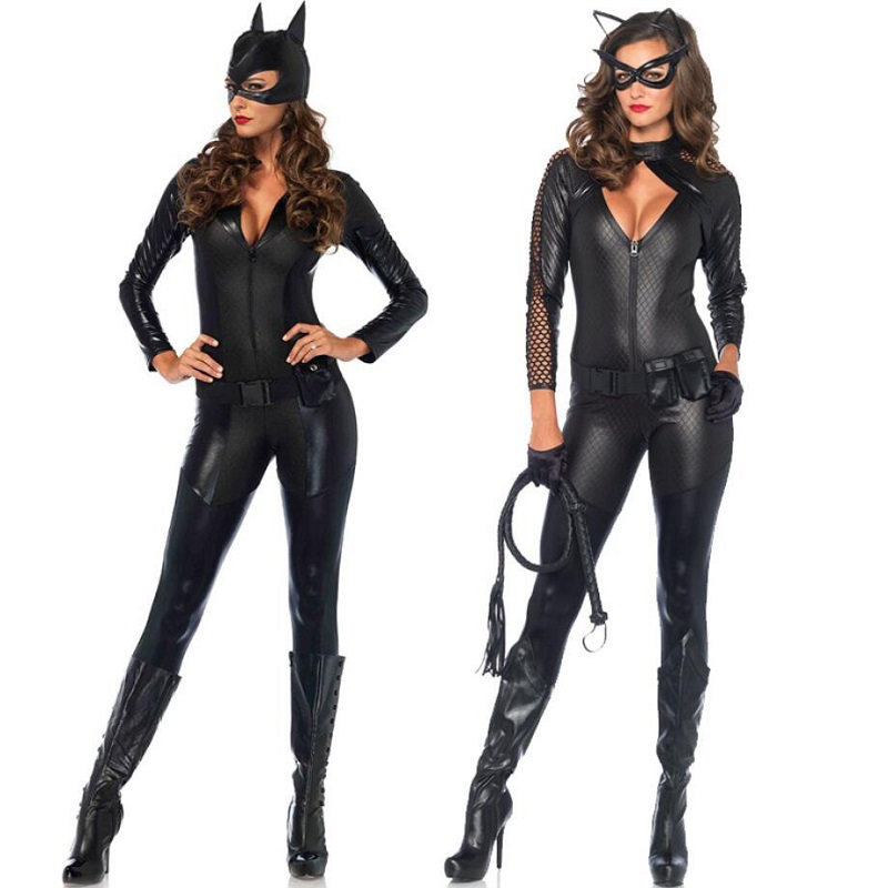 <font><b>Catwoman</b></font> Cosplay <font><b>Costume</b></font> Women Skinny Suit Ladies Role Play Catsuit <font><b>sexy</b></font> Jumpsuit Zipper Bodysuit Animal Cat Cosplay Outfit image