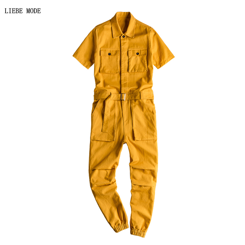 Hip Hop One Piece Mens Full Length Jumpsuit Short Sleeve Sweatshirt Overalls 2019 Summer Fashion Men Loose Bodysuits Cargo Pants