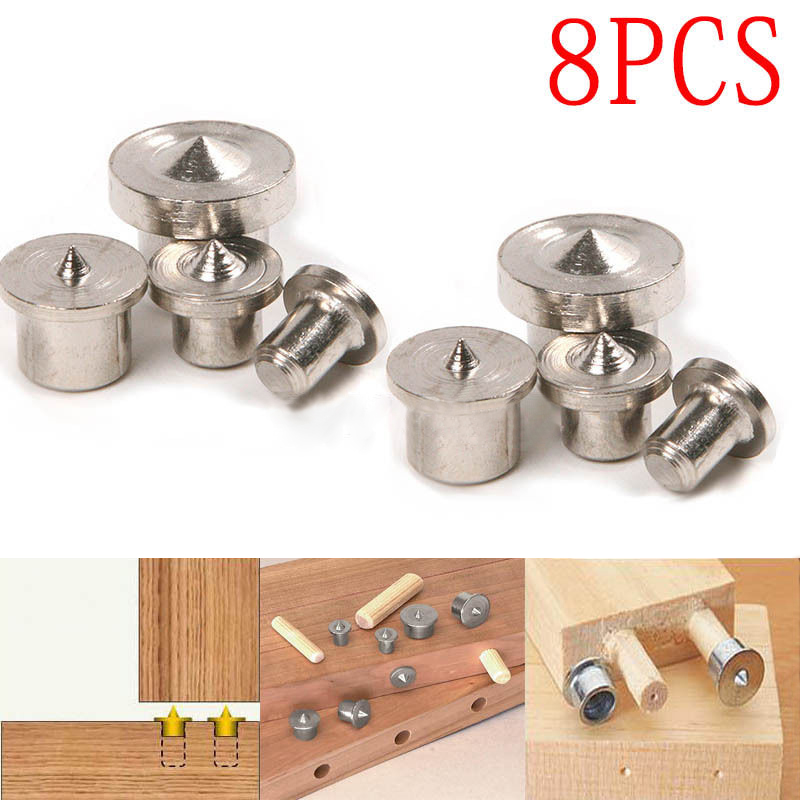 8pcs 6/8/10/12mm Dowel Pins Center Point Set Woodworking Craft Clamp Steel Tools For Woodworking Power Tools