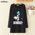 Character Print Tops Women 2017 New Casual Female Plus Size 3XL  4XL Round Neck Loose Long Sleeve T-shirts Black White NN287