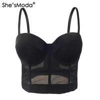 Fashion Mesh Push Up Bralet Women S Corset Bustier Bra Night Club Party Cropped Top Vest