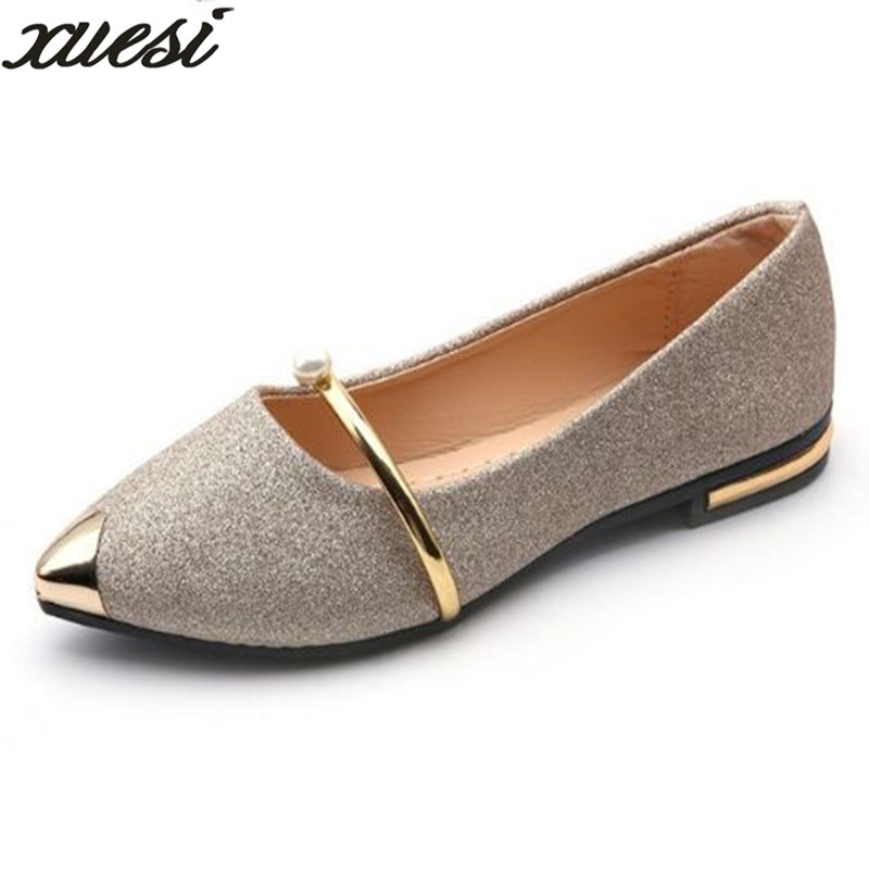 XUESI 2018 Pointed Toe Shallow Women Shoes Woman Comfortable Slip On Casual Shoes Leisure All Match Singles Ladies Shoes Zapatos lin king fashion pearl pointed toe women flats shoes new arrive flock casual ladies shoes comfortable shallow mouth single shoes