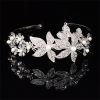 Vintage Simulated Pearl White Gold 585 Plated Tiaras Rhinestones Crown Hair Clips For Women Accessories Jewelry
