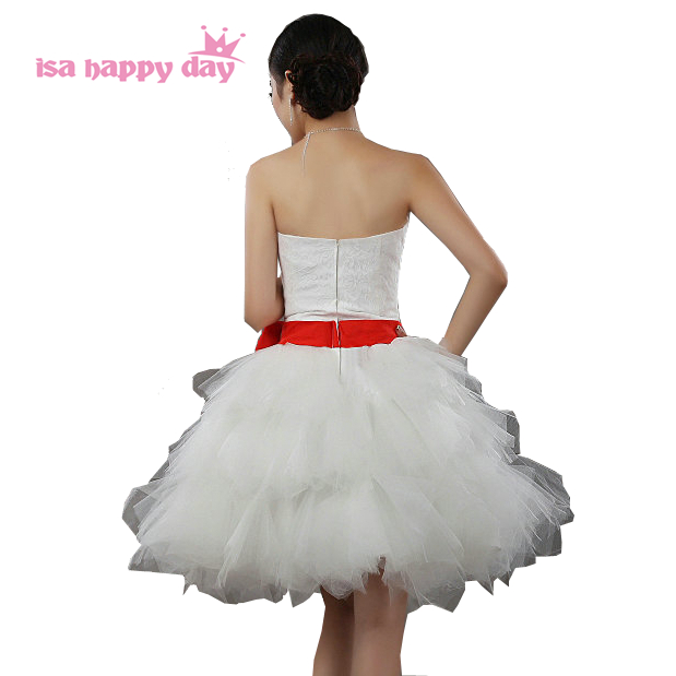 6cc4735bb4 Mujer sin tirantes del partido dama vestido rojo barato del cortocircuito  del amor elegante niñas criada de las novias vestidos con un arco B418 en  Vestidos ...