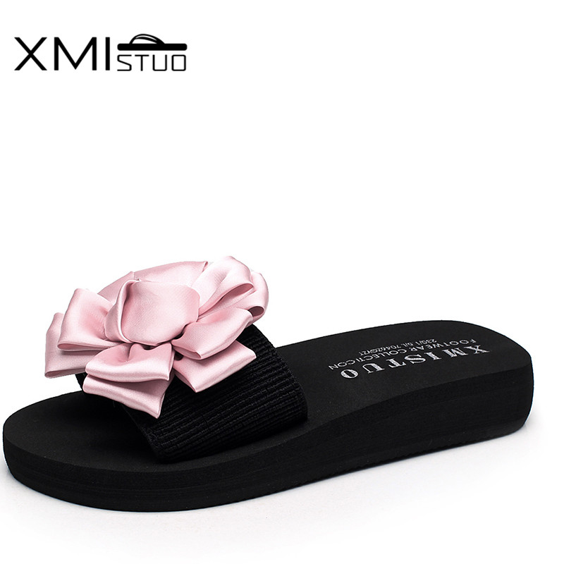 29322a16565 Aliexpress.com   Buy XMISTUO Summer Women Slippers with Flower Slides  Outside Beach Sandals Ladies 3CM Low Heels Slippers 8 Color 7199 from  Reliable women ...