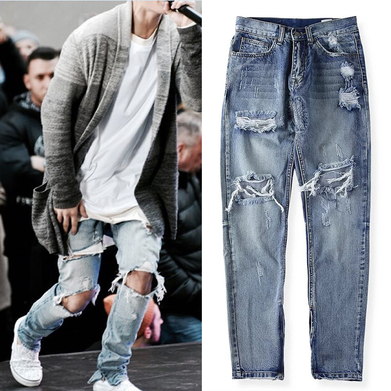 2017 Fashion skinny ripped rockstar hiphop Fashion men ankle zipper skinny slim Elasticity jeans
