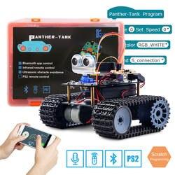 Keywish Танк робот для Arduino UNO R3 умные автомобили комплект приложение RC удаленного Управление ультразвуковой Bluetooth модуль стволовых игрушки