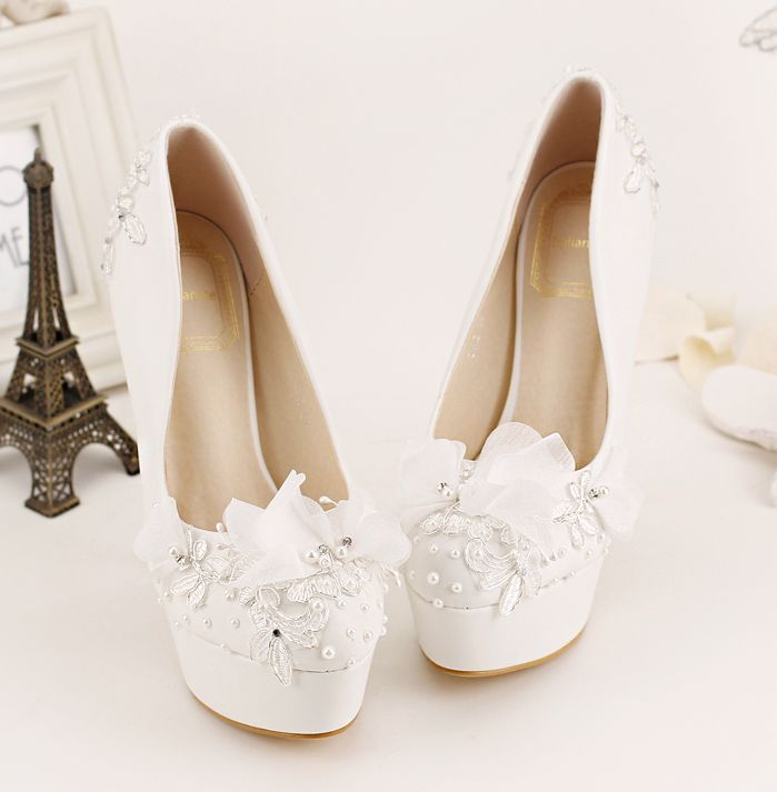 ФОТО White lace flowers fashion pumps shoes for woman thin high heeled platforms ladies girl party pumps shoes TG782 on sales