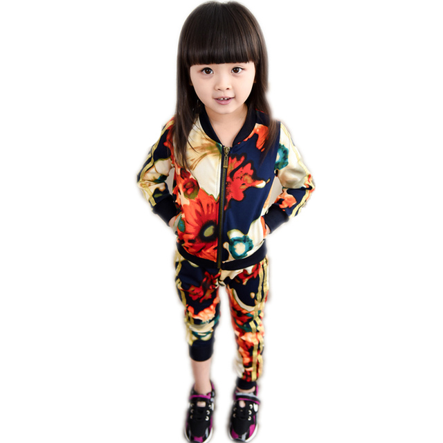 2017 new winter suits for girls autumn winter kids tracksuit floral printed children clothing sets top outwear+harem pants 2-7T