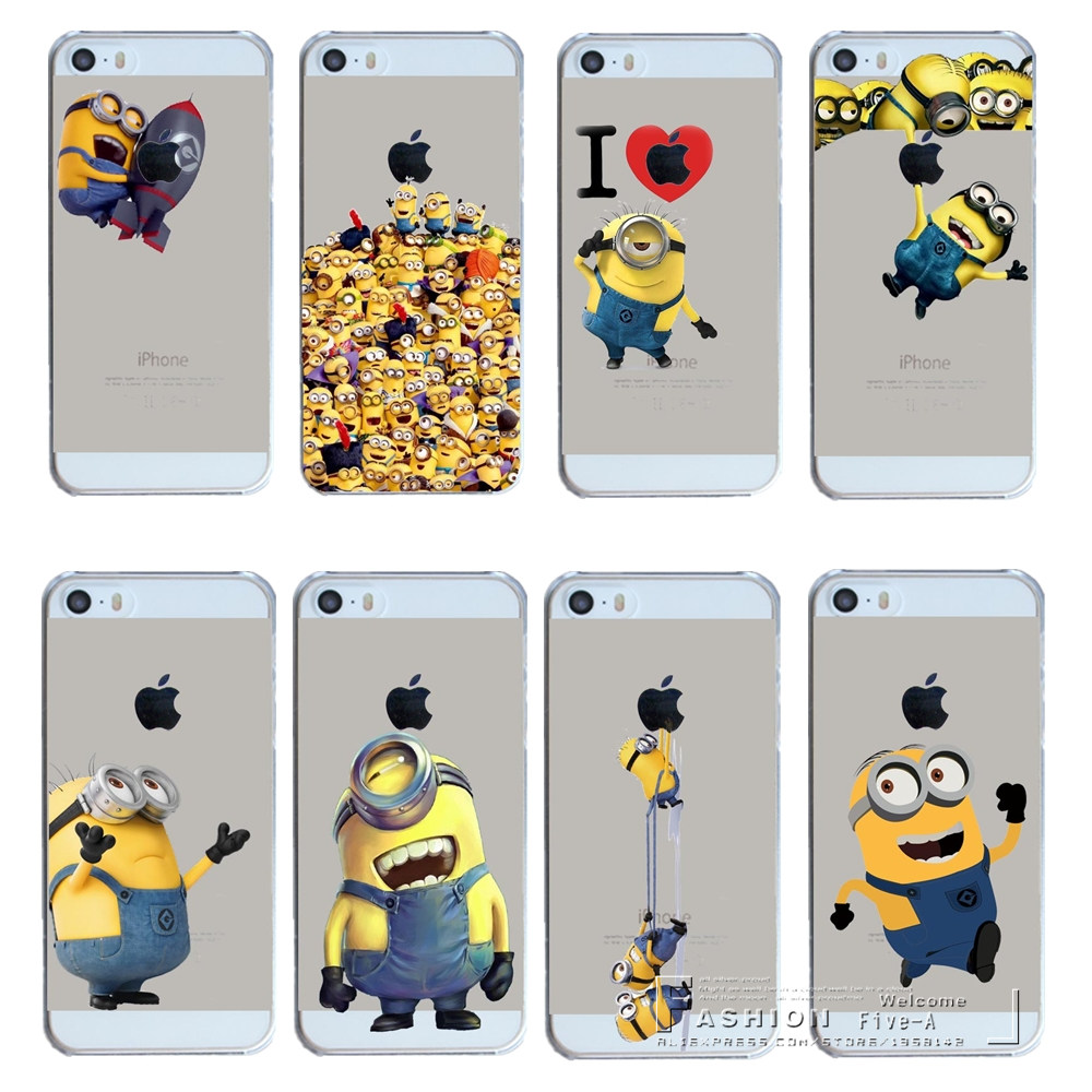 best service 8bf85 6415e New Arrival Super Hot Minions Design Hard Transparent Case Cover For Apple  iPhone 4 4S 4G