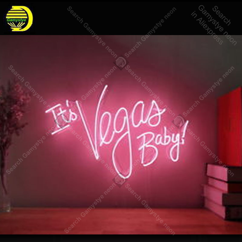 It's Vegas Baby Neon Sign Glass Tube Handmade neon light Sign Recreation home Bedroom Iconic Sign Neon Light Decor Great GIfts coors light bikini girl neon signs unique artwork real glass tube neon lights recreation home wall iconic sign neon light lamps