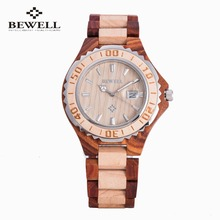 Bewell Auto Date Watch Men Top Brand Luxury Wood Men Watch Fashion Dress Business Design Bamboo Winner Quartz-Watch