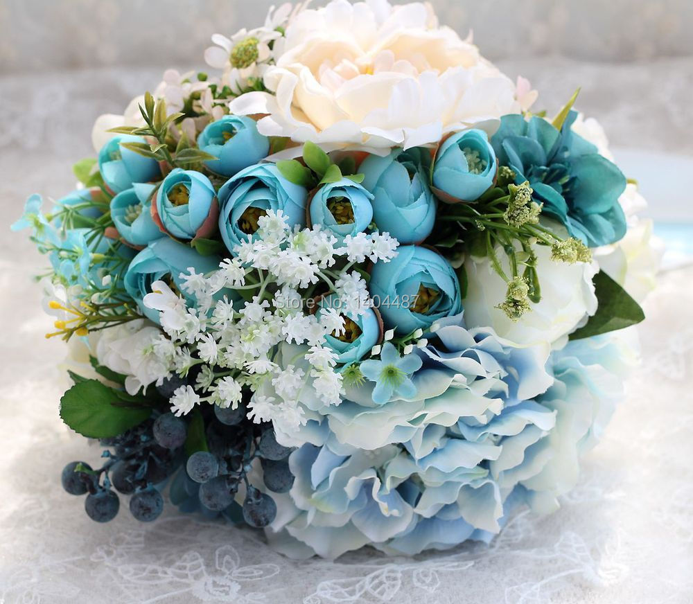 blue flowers wedding bouquet vintage blue wedding bouquet 2016 top quality 1934
