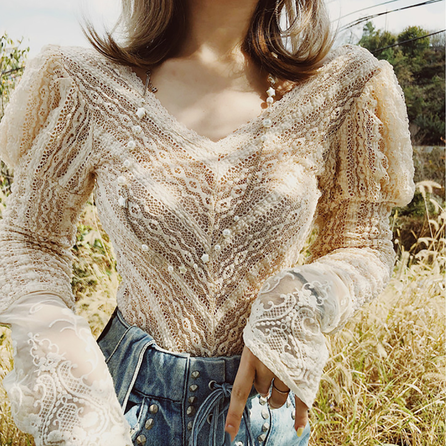 2019 Autumn Winter Solid Geometric Women Blouse Personality Elastic Force Deep V-Neck Sexy Shirt Lace Puff Sleeve Patchwork Top