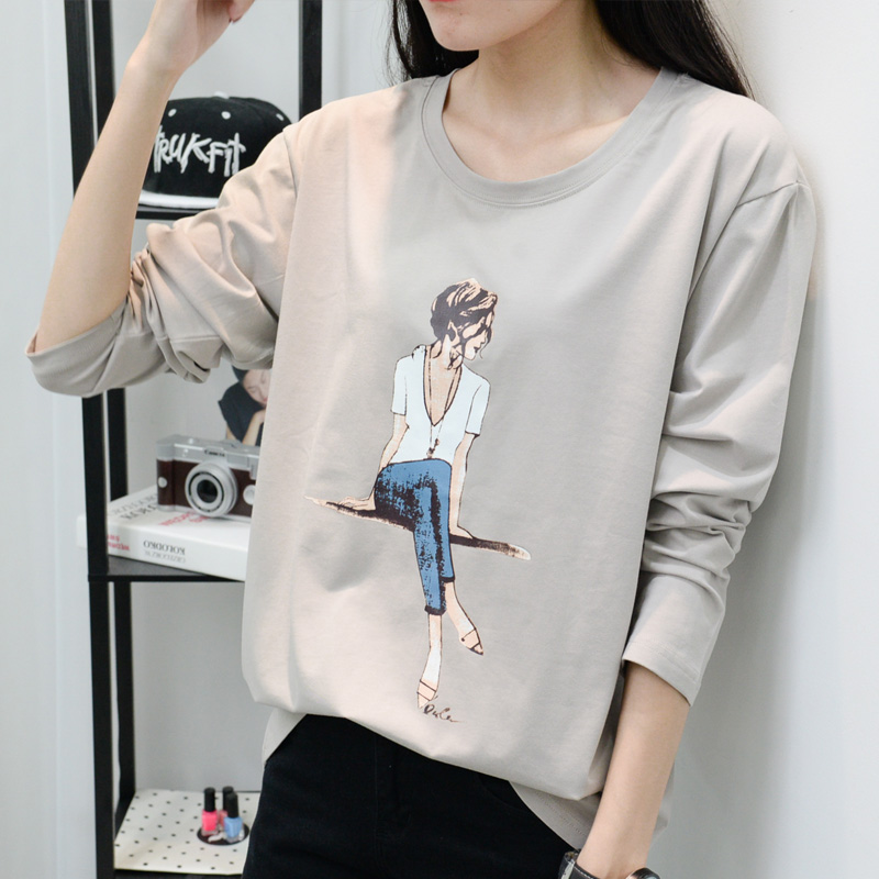2018 New Cartoon Tshirt Women Shiny T-shirts For Women Fashion Long-sleeve T Shirt Woman Plus Size Female T-shirt