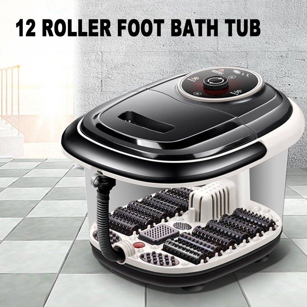 Fully Automatic Electric Roller Feet Basin Heating Foot Tub Foot Massage Machine Foot Spa Bath Massager US Plug New