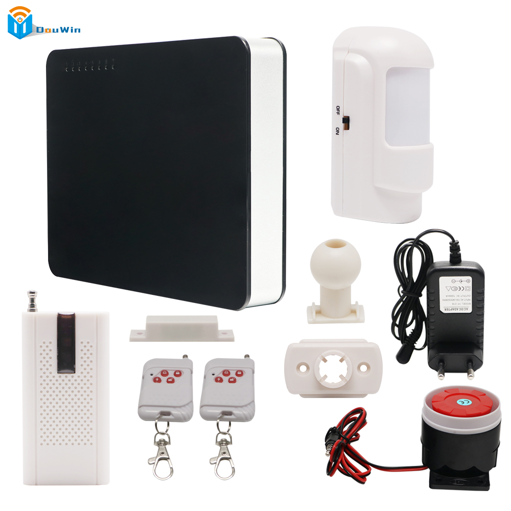New GSM  Home Security Smart House Wireless door sensor Metal Remote Control Voice Prompt  GSM Alarm systems LCD DouWin