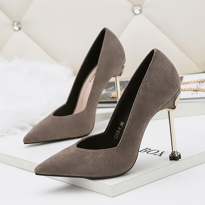 Sexy Shoes Women Pumps Clear Heels 2018 Spring Autumn Shallow Mouth Flock Office Shoes Woman High Heels Party Shoe 5