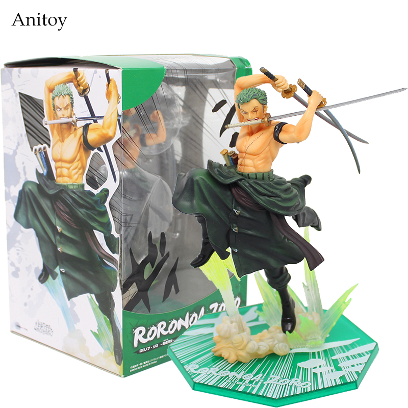 One Piece Zoro 1/8 Scale Painted Figure Fighting Ver. Roronoa Zoro Doll PVC Action Figures Collectible Model Toys 19cm KT3359 brand new portrait of pirates one piece roronoa zoro 23cm pvc cool cartoon action figure model toy for gift kids free shipping