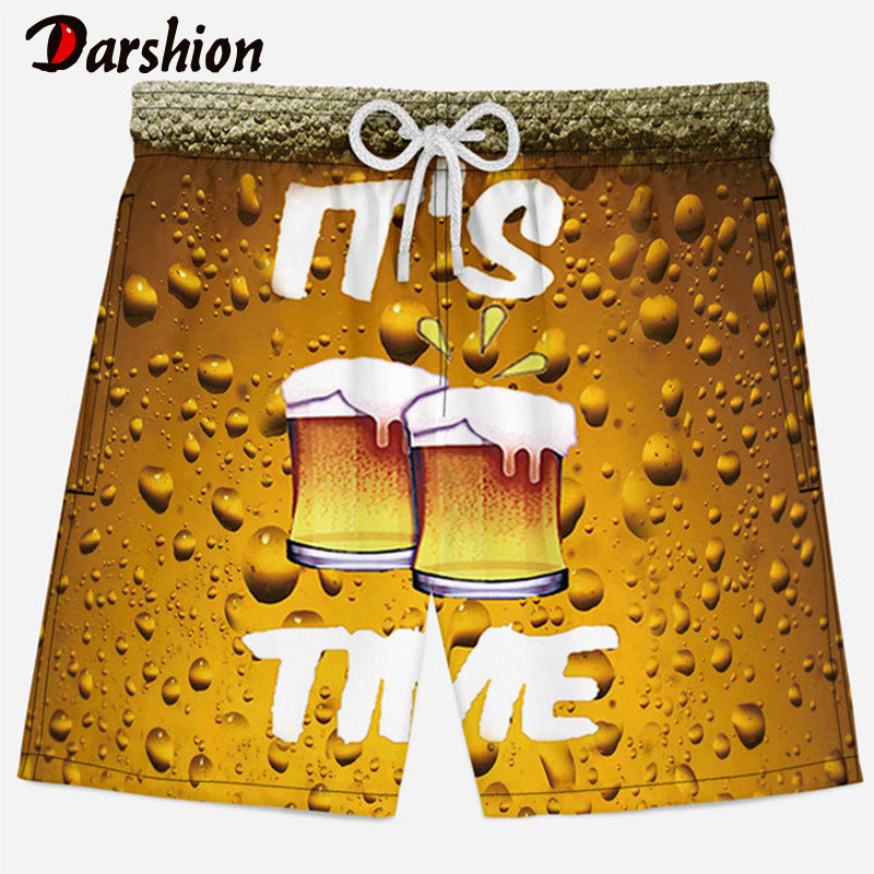 2019 Summer 3D Print Men Casual Shorts Milk Silk Beer Print Beach Shorts Loose Elastic Quick Drying Men Short Plus Size XS-4XL