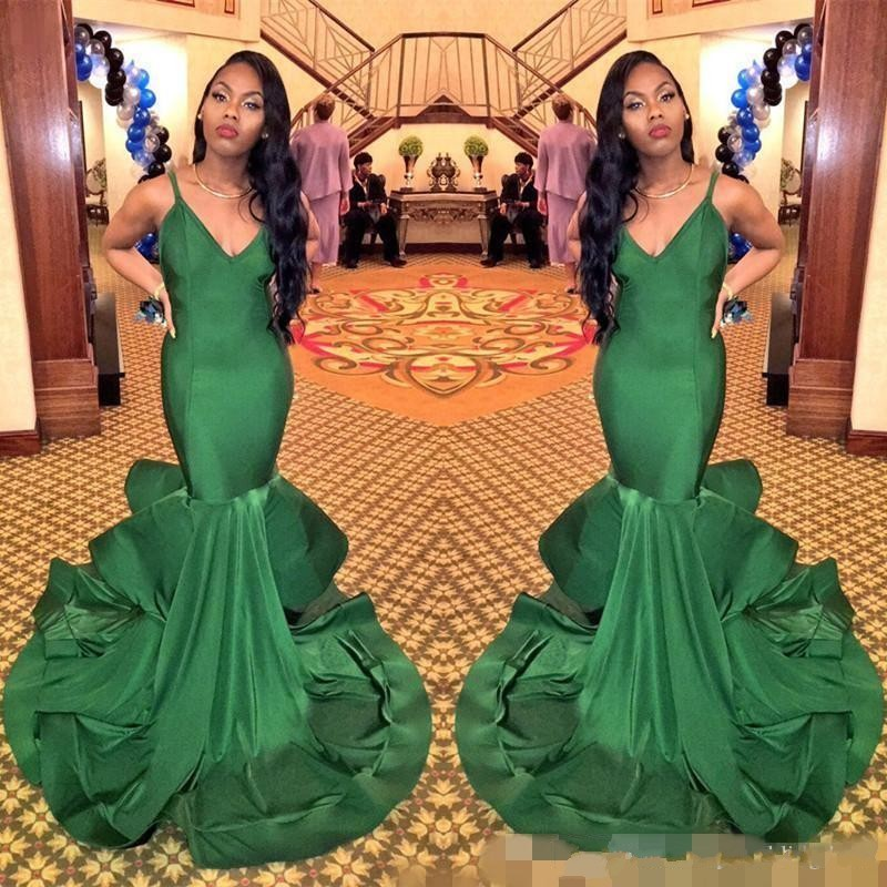 2019 Green Long Mermaid Spaghetti Strap Black Girl   Prom     Dress   Sexy South African Graduation Evening Party Gown Plus Size Custom
