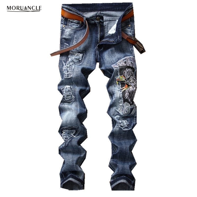 MORUANCLE New Fashion Men's Ripped Embroidery Jeans Pants Distressed Embroidered Denim Trousers Joggers Slim Fit Straight front rear bumper protector sill trunk guard skid plate trim cover plate for nissan qashqai 2007 2008 2009 2010 2011 2012 2013