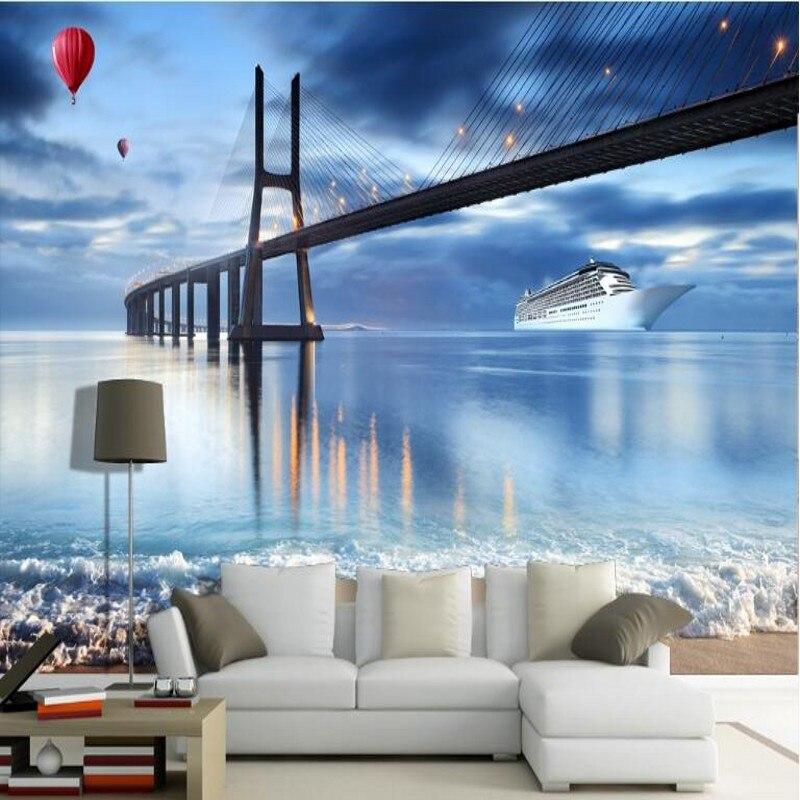 Us 885 41 Offwellyu Kustom Skala Besar Mural Kapal Pesiar Cross Sea 3d Tv Latar Belakang Wallpaper Dinding Papel De Parede Untuk Quarto In
