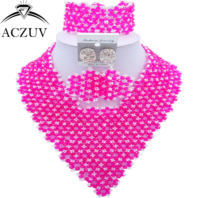 ACZUV Brand Hot Pink White Bridal Jewelry Sets African Wedding Beads Nigerian Necklace AJ017ACZUV Brand Hot Pink White Bridal Jewelry Sets African Wedding Beads Nigerian Necklace AJ017