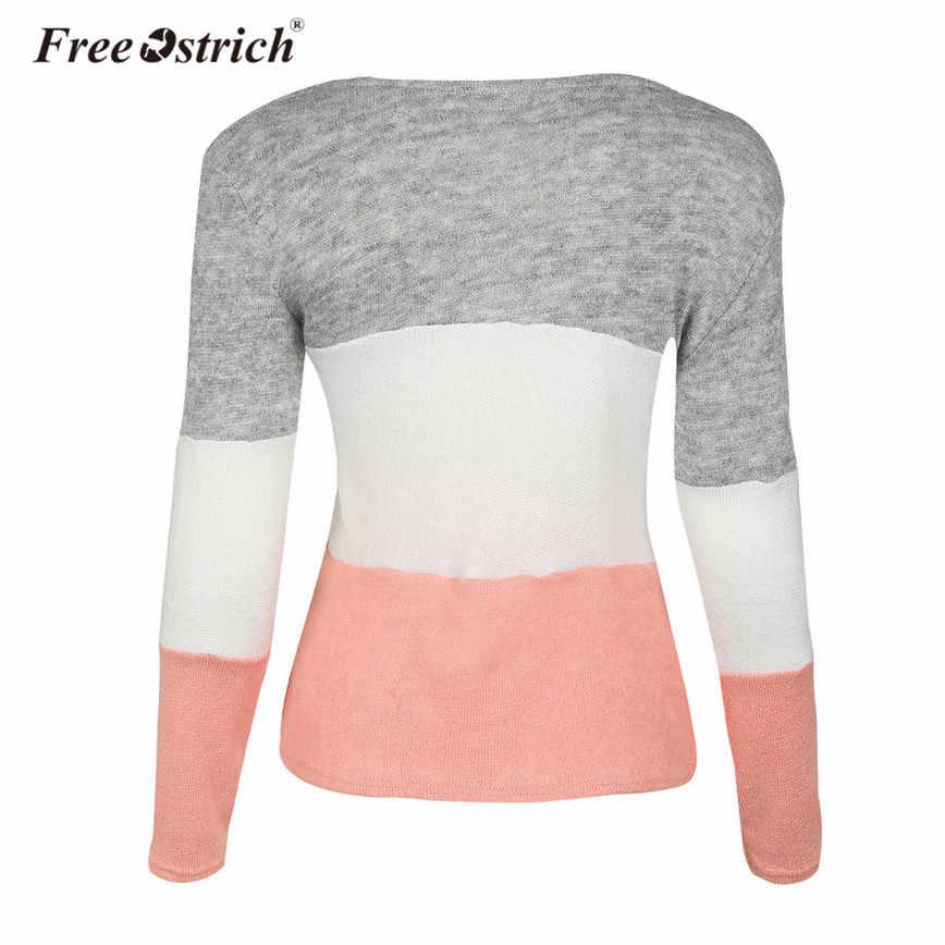 Freier Ostrich Hohe Qualität Pullover Frauen Casual Patchwork Süße Langarm Striped O-ansatz Gestrickte Pullover Jumper Weiblichen