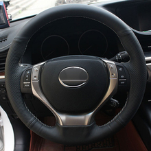цена Free Shipping High Quality cowhide Top Layer Leather handmade Sewing Steering wheel covers protect For Lexus GS300h/RX270/RX350 в интернет-магазинах
