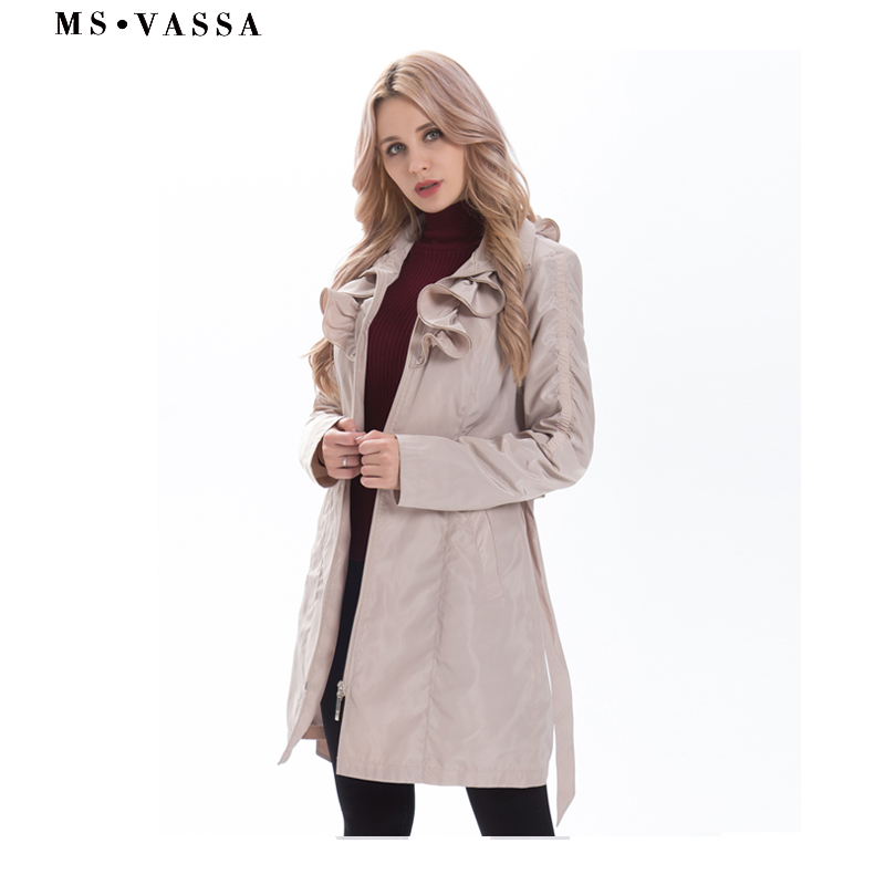 New Spring Women coat fashion trench coat plus size adjustable waist belt fashionable slim fake memory ruffled collar outerwear-in Trench from Women's Clothing    1