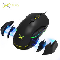 Delux M627 Wired Gaming Mouse 5000 DPI 8 Buttons RGB Backlight Optical Mice with DIY Side Wings For Left and Right hand PC User