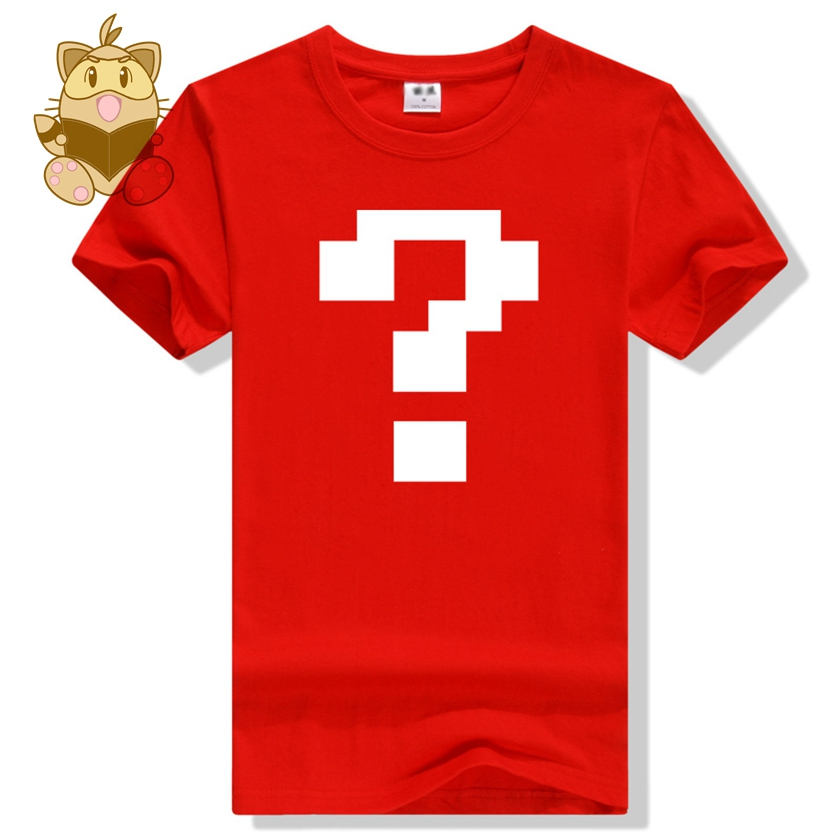 Retro 8-bit FC game t shirts mosaic question mark printing cotton t shirts ac416