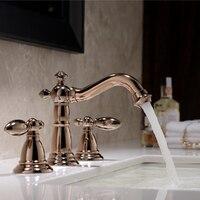 Розовое золото clour 8 дюймов 3 отверстия Широкое ванной Санузел раковина кран смесителя бортике Бесплатная доставка