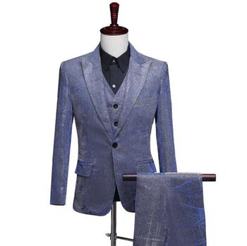 blazer men suits designs Bright color and bright silk stage costumes for singers jacket mens clothes dance star style dress