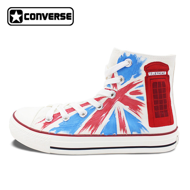 Woman Man Converse All Star UK Flag Union Jack Phone Booth Design Hand Painted Shoes High