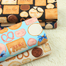 half yard import cotton linen retro fabric with biscuit print handmade DIY patchwork bag cloth A792