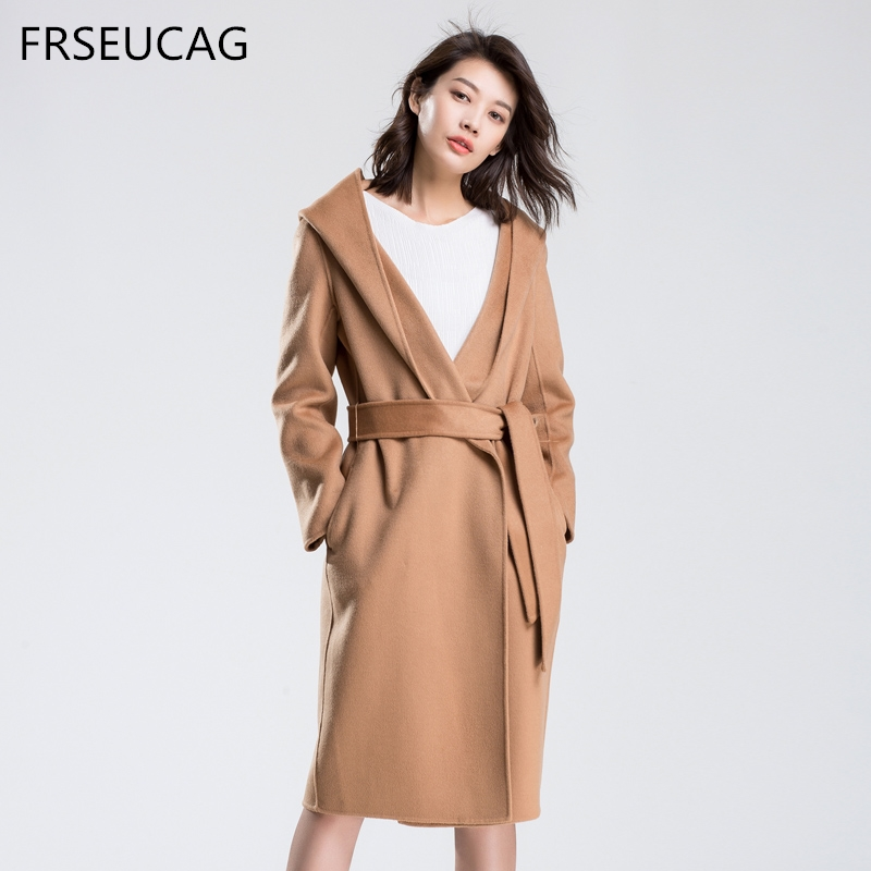 FRSEUCAG2018 Hot new high-end fashion double-sided woolen cloth coat long-sleeved knitted cardigan autumn and winter wool jacket