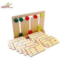 لعبة خشبية هدية عيد ميلاد مونتيسوري الطفل مضحك التعلم المبكر أداة 3 لون فرز صفيف نقل كعكة مباراة بطاقة نمط لعبة 1set