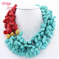 2019 Dubai African Beads beautiful Necklace Nigerian Red Coral Necklace Bridal Jewelry Wedding Gift Statement Necklace E11122