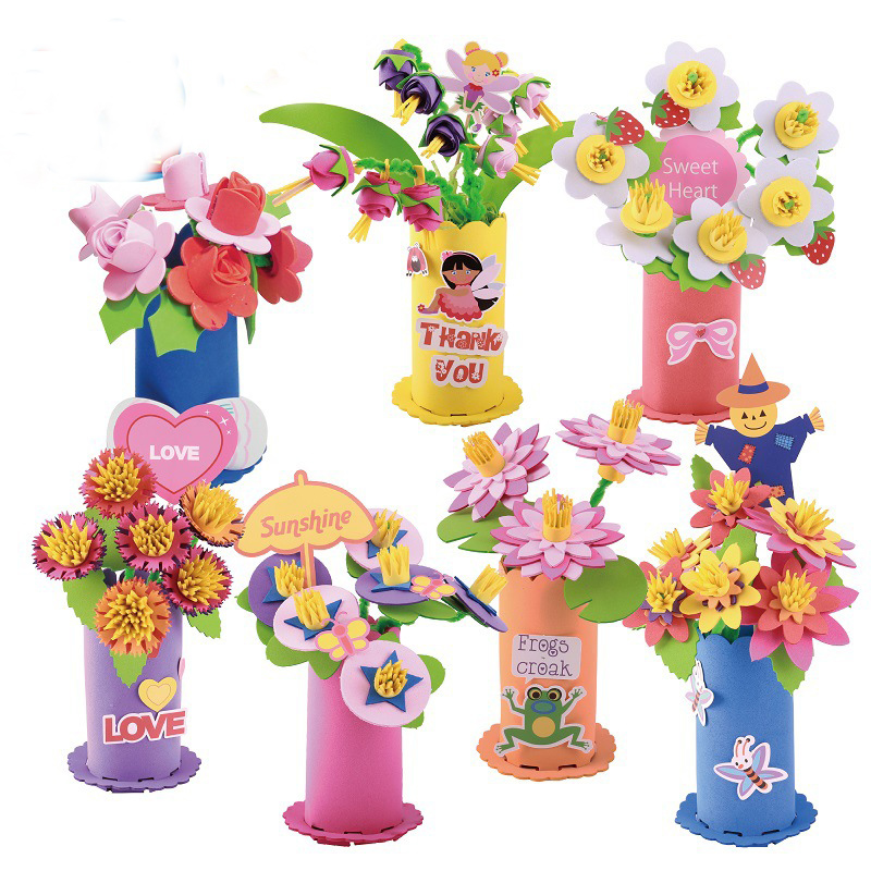 Toys For Children Crafts Kids DIY EVA Potted Plant Kindergarten Early Learning Education Toys Montessori Teaching Aids
