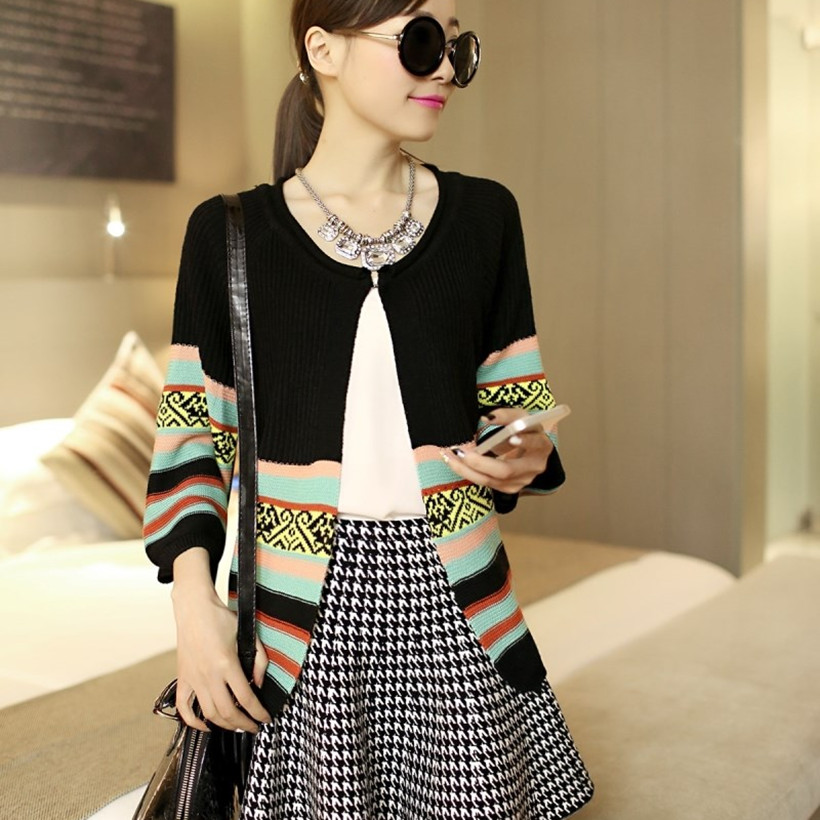 2020 Couture Clip Color Fashion Han Edition  7 Minutes Of Sleeve Coat Loose Knit Air Conditioning Unlined Upper Garment