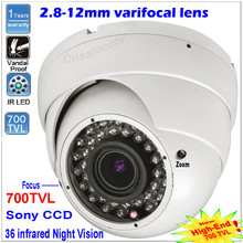 2017 New CCTV camera 1/3″ SONY CCD HD 700TVL 36 IR Varifocal 2.8-12mm lens In/Outdoor Dome Security Camera Free shipping