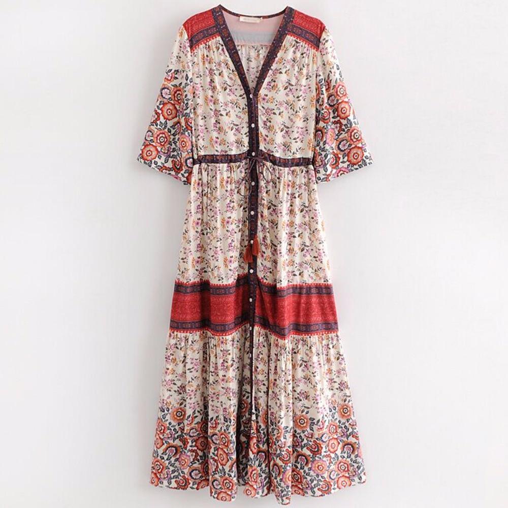 cddea2d524 Pirate Curiosity Rayon Boho V Neck Women Maxi Dress Rosewood Print Gown  Long Casual Beach Dress Summer Dresses 2018 Vestidos-in Dresses from Women's  ...